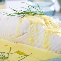 poached halibut with saffron fennel cream