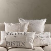 french linen, laundry bags and throw pillows