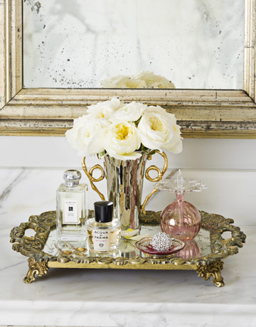 The glamour of perfume trays for Mirrored bathroom tray