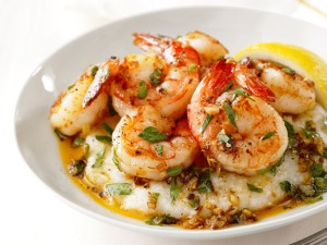 healthy recipe:  garlic shrimp and grits