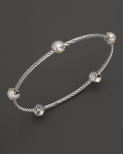 Charriol stainless steel bangle w pearls 395USD