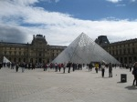 The famous glass pyramid entrance to the Louvre