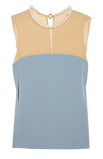 moschino cheap and chic embelished chiffon and crepe top 595