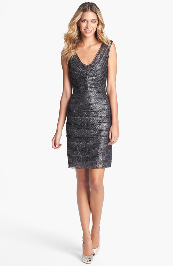 metallic lace sheath dress 188