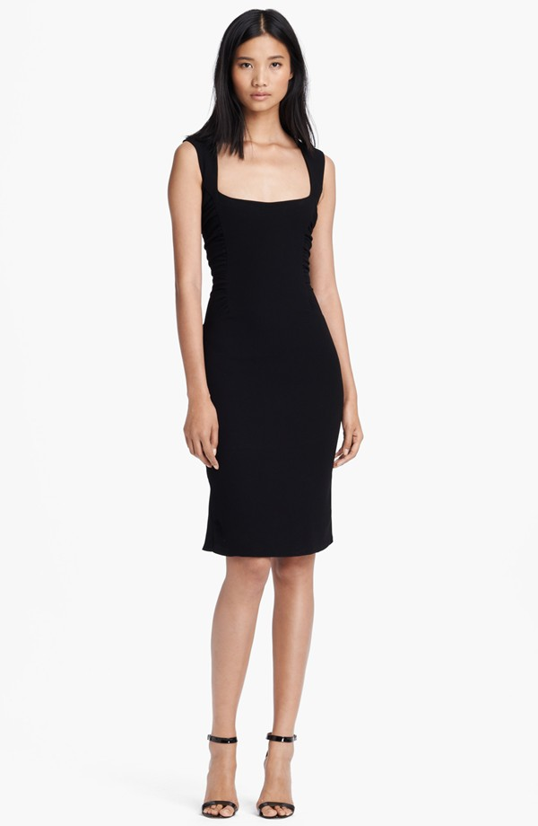 square neck ruched dress 395