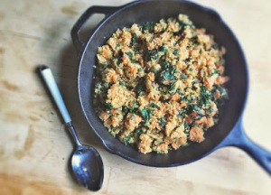 healthy recipe: sweet potato, kale and sage skillet quinoa