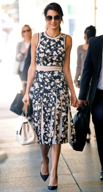 EXCLUSIVE: Amal Clooney spotted wearing a Black & Beige Floral Print Dress while out and about in New York City. Pictured: Amal Clooney Ref: SPL1361866 250916 EXCLUSIVE Picture by: Felipe Ramales / Splash News Splash News and Pictures Los Angeles: 310-821-2666 New York: 212-619-2666 London: 870-934-2666 photodesk@splashnews.com