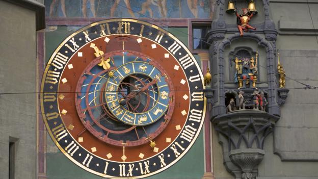 An astronomical clock on the Zeitglockenturm, also known as Zytglogge, in Bern.