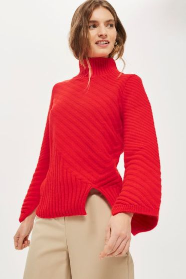 Ribbed Asymmetric Funnel Neck Jumper USD75.00