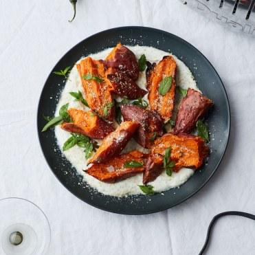 roasted-sweet-potatoes-with-chile-yogurt-and-mint