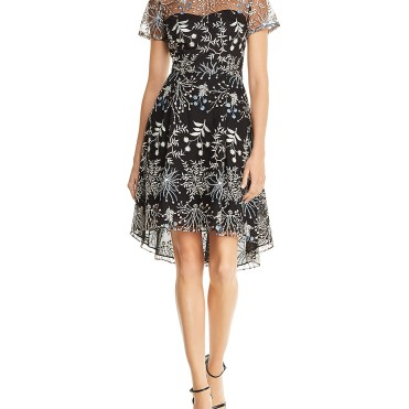 Adrianna Papell Embroidered Tulle Dress9787611_fpx
