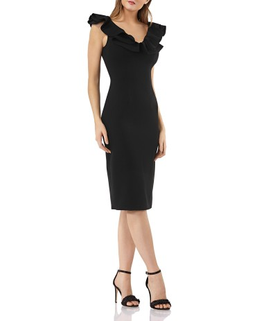JS Collecdtion Ruffle Trimmed Cocktail dress9831922_fpx