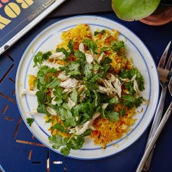 herbed-chicken-salad-over-crispy-rice