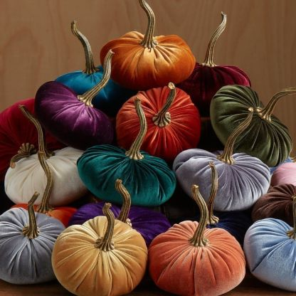 Display velvet pumpkins around your appetizer table